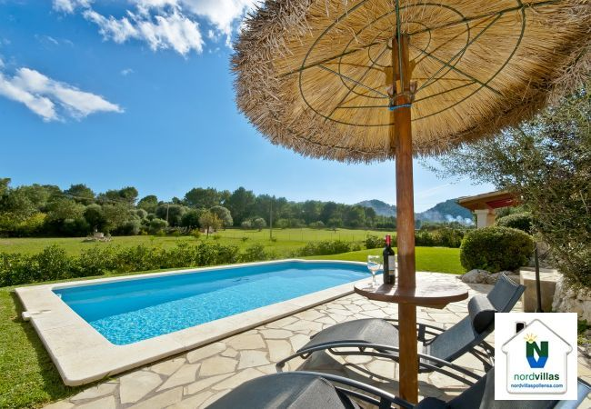 Sun loungers and parasols by the pool